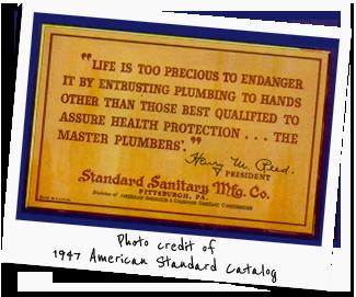 American Standard Plumbers Plaque